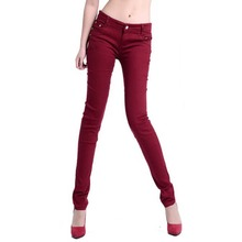 Candy Color Slim Women Skinny Stretch Low Waist Pencil Pants Trousers Leggings 12 Colors(China (Mainland))