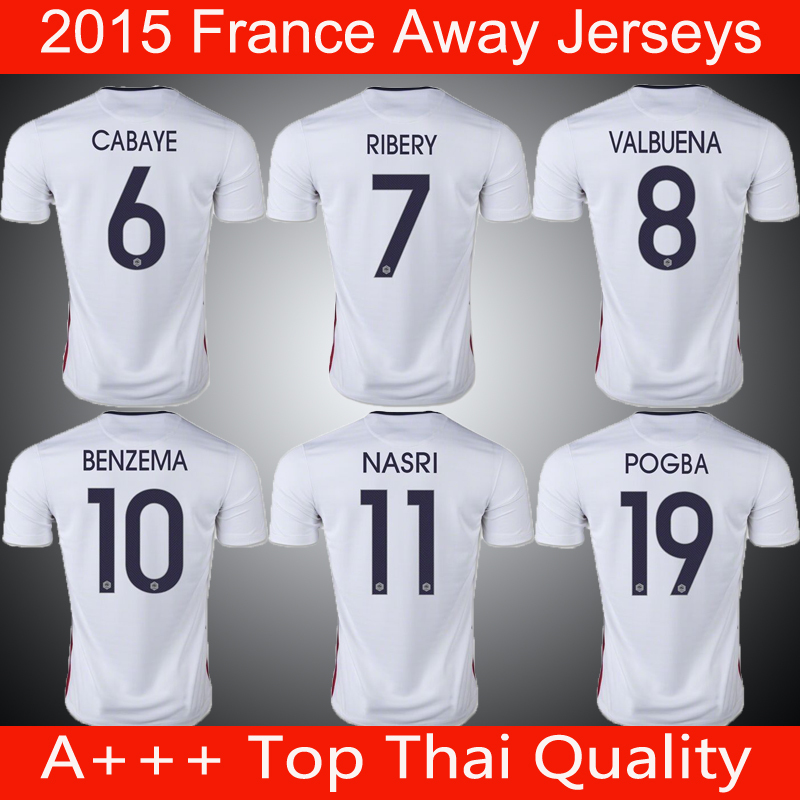 A+++ thai quality 2016 Euro cup national team RIBERY BENZEMA GRIEZMANN soccer jerseys CABAYE POGBA Maillots de football france(China (Mainland))