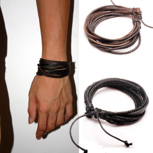 Mens Wrap Multilayer Genuine Leather Bracelet Braided rope Fashion Jewelry - Online Store 539425 store