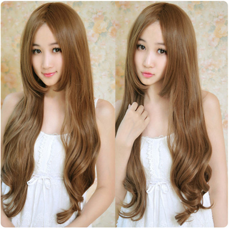 2015 cheap Carve bangs fashion wig long 70cm Hair womens wig Black synthetic wigs women medium brown curly wigs heat resistant<br><br>Aliexpress