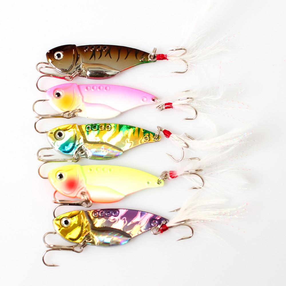 Wholesale 5Pcs 5 Rattlin VIB Fishing Lures with Feather Treble Hooks Hard Metal VIBE Vibrating Blade Sequins Fish Hard Bait(China (Mainland))