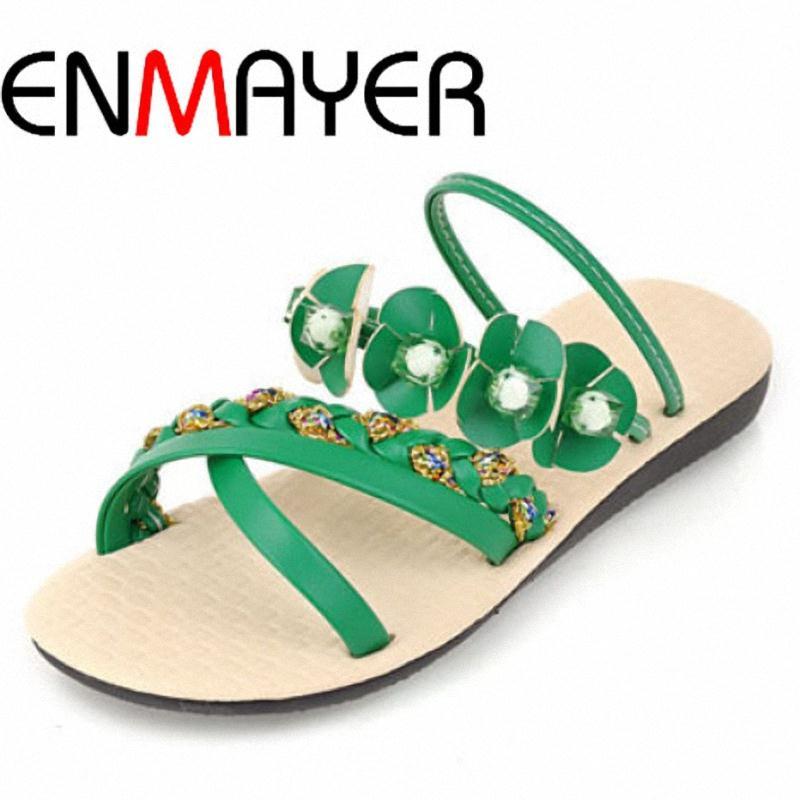 ENMAYER Size 35-43 New 2014 Sexy Platform Summer Shoes Casual Flip Flops Fashion Flower Sandals FIats Shoes for Women