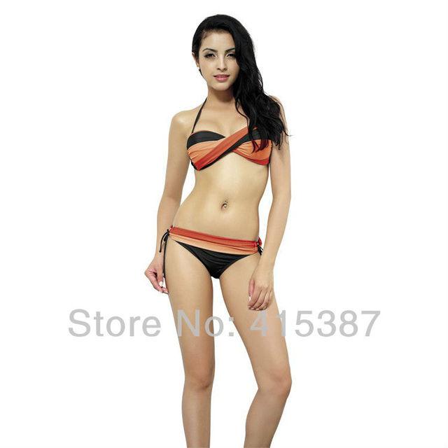 Free Shipping 2013 Fashion Summer Women Female Sexy Bikini Solid Blue Orange Swimsuit Swimwear, YZ-162020