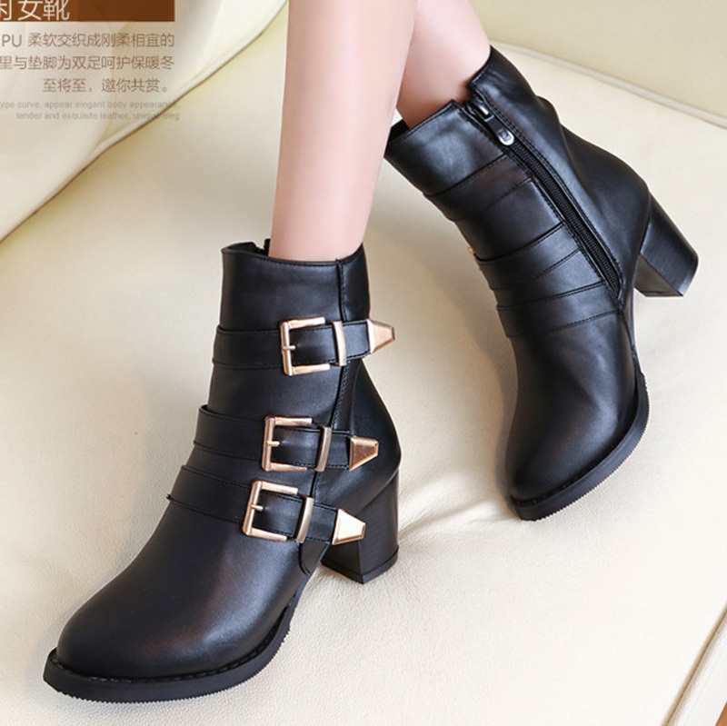 ENMAYER Classics Ankle Boots Buckle Decoration Design Round Toe Platform Shoes Women High boots Casual Party Women Shoes Buckle<br><br>Aliexpress