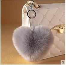 Amor Do Coração de Pele Chaveiro Chaveiro chaveiro fofo coelho de pele pom pom bola de pêlo chaveiro porte clef llaveros Chaveiro Para O Saco de Charme(China)