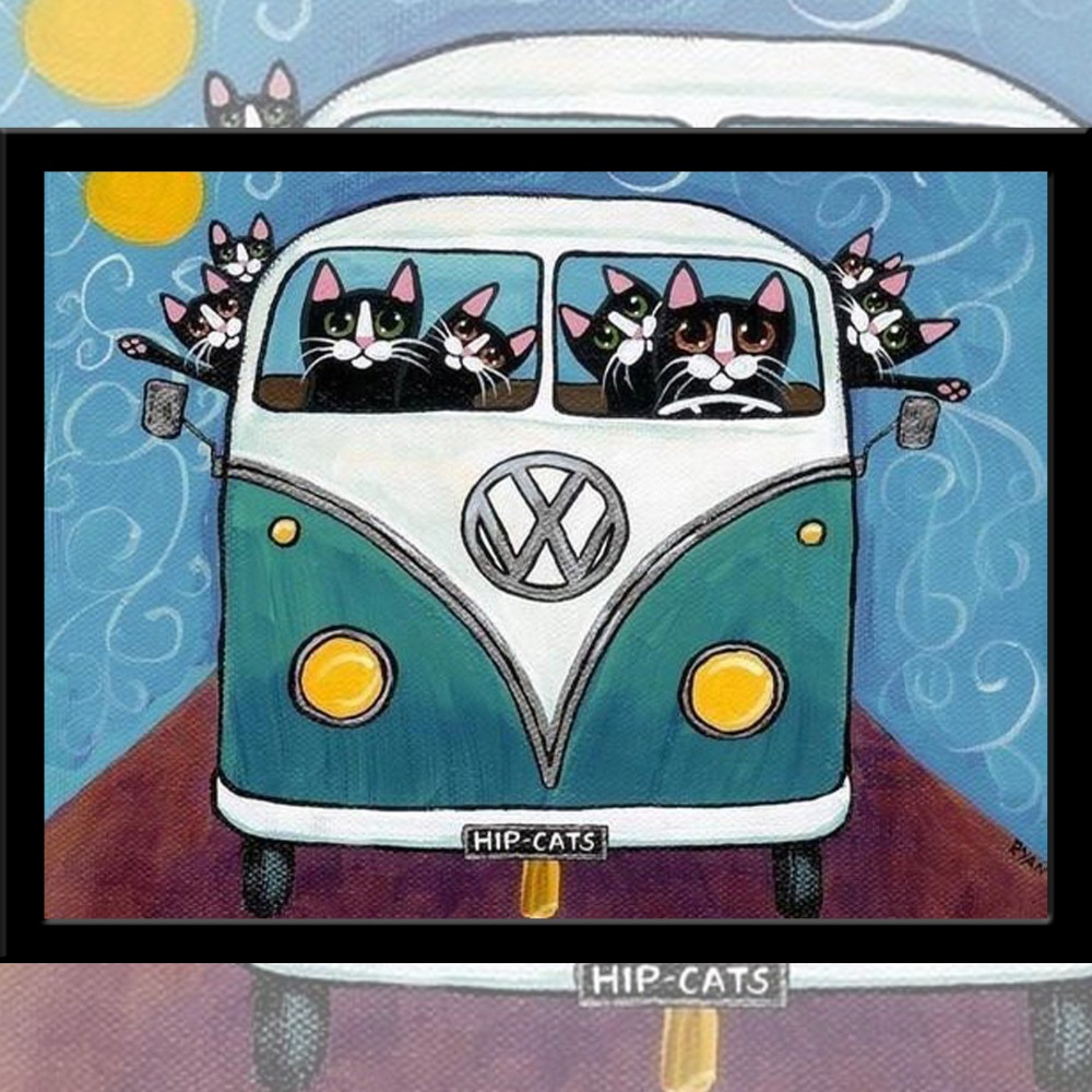 Resin Diamond Picture of Black Cats School Bus, Crystal Embroidery DIY Rhinestones Painting Home Decoration 2016 New Arrival(China (Mainland))