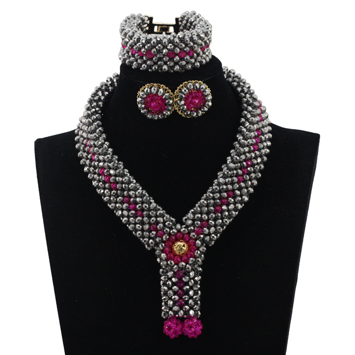 New Silver and Pink African Wedding Statement Necklace Set Crystal Beaded Collar Pendant Bridal Jewelry Set Free Shipping WD336(China (Mainland))