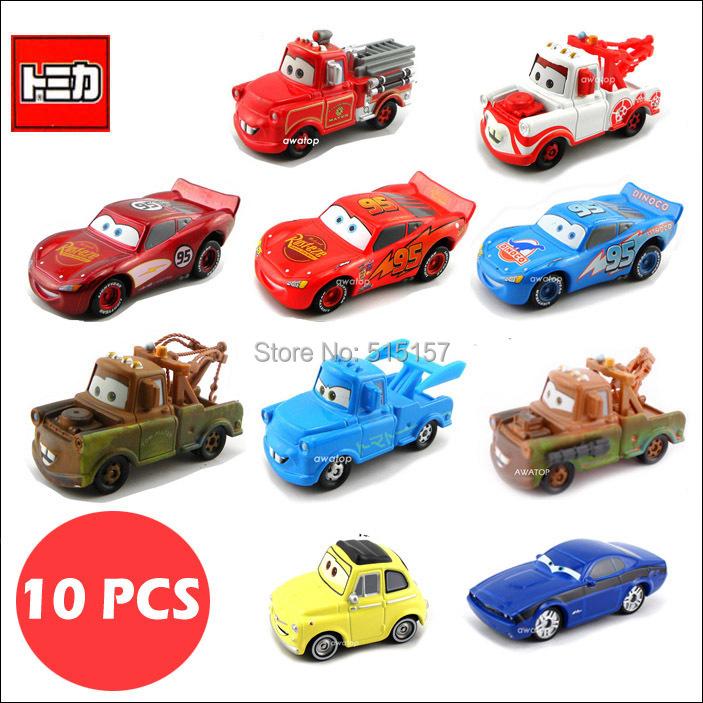 (10 pieces/lot) tomy tomica toy cars pixar 2 diecast metal Special Mater King Rod Luigi(China (Mainland))