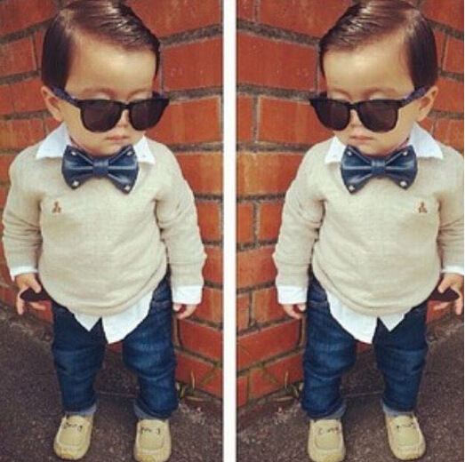 Handsome boys sets tie pullover long sleeve fake two sweaters shirt + jeans trousers 2pcs suit baby boy set fashion kids clothes(China (Mainland))