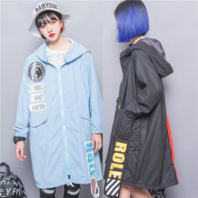 Fashion HARAJUKU zipper plus size applique letter a with hood long zipper design trench outerwear female