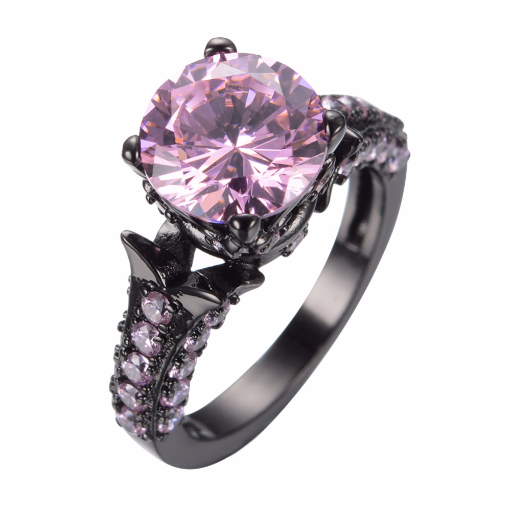 Fashion Jewelry Women party ring 10kt Black Gold Filled Ring Pink Sapphire Size 6/7/8/9/10 Ball ring(China (Mainland))