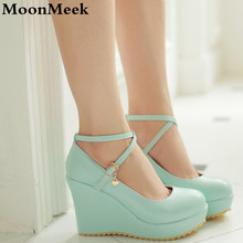 2016 Plus size 34-43 buckle strap sweet fashion women pumps abnormal heels wedges round toe top quality pu leather wedding shoes