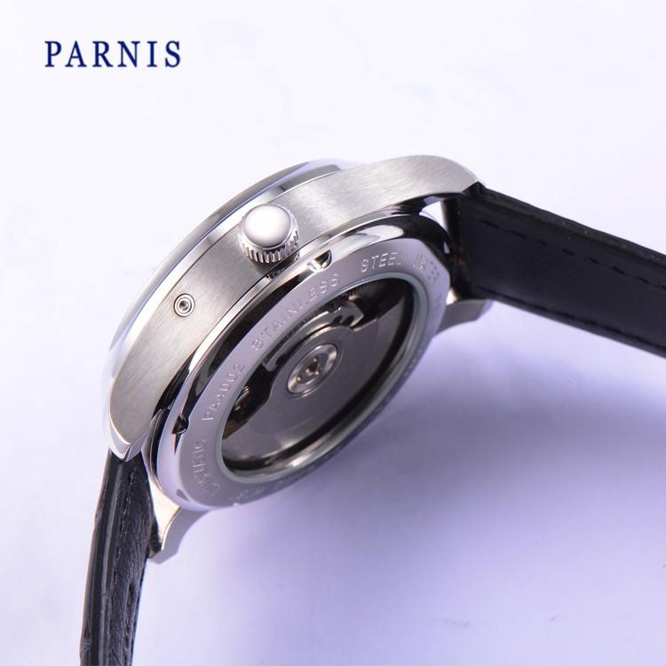 42 мм Парнис Автоматическая Power Reserve мужские Часы Черный Циферблат Серебряные Номера PA4002 Механические Наручные Часы Фазы Луны Авто Дата