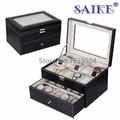 Free Shipping 20 Grids Black Leather Brand Watches Box Top Quanlity Watch Display Boxes New Rectangle
