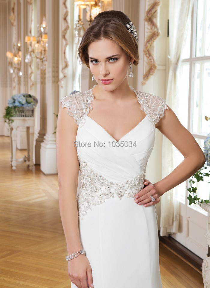 Ivory Chiffon Bridal Gowns With A Queen Anne Neckline Cap Sleeve Open Back Sheath Wedding Dresses Pleat Beaded Detail Dress 2016(China (Mainland))