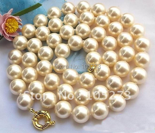 34INCHS AA 14MM CHAMPAGNE ROUND SOUTH SEA SHELL PEARL NECKLACE FASHION SHELL PEARL JEWELRY HOT SALE FREE SHIPPING FN1211<br><br>Aliexpress