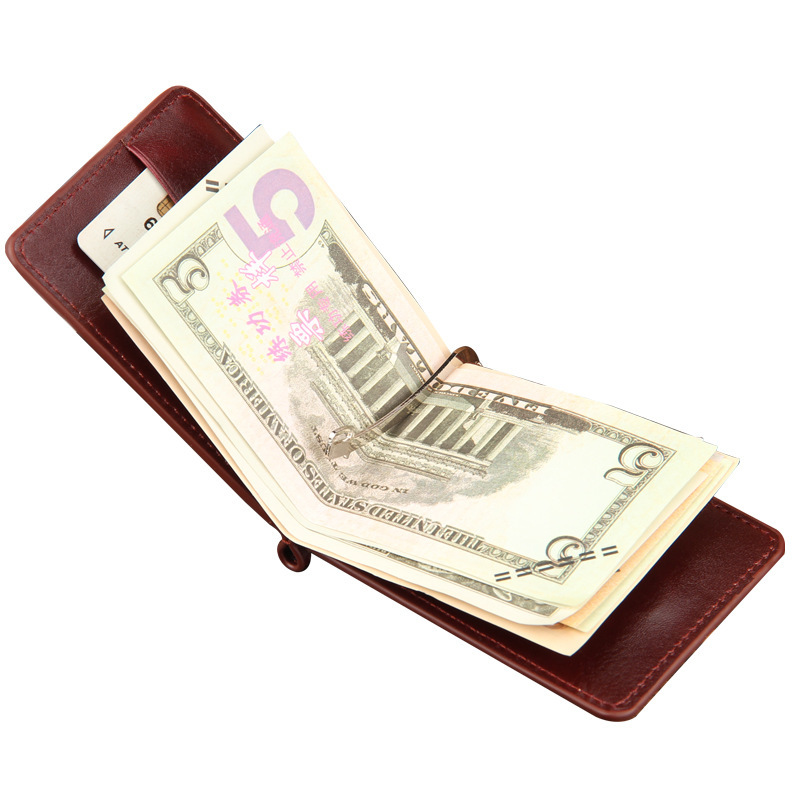 2016 Hot Sale Fashion New Men Money Clips Black Brown PU Leather 2 folded Open Clamp