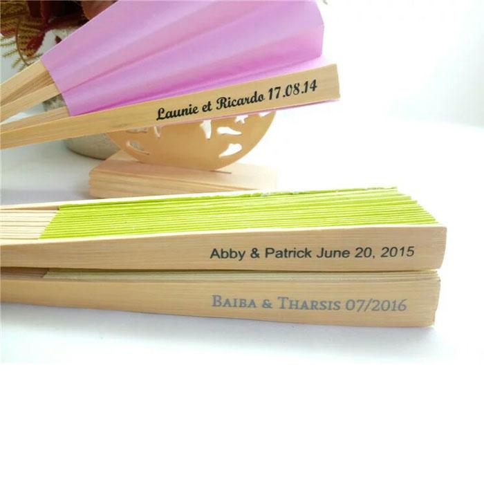 200Pcs Free Shipping Personalized Wedding Fan Favors Folding Hand Silk Fan Recuerdos De Boda+Organza Bag(China (Mainland))