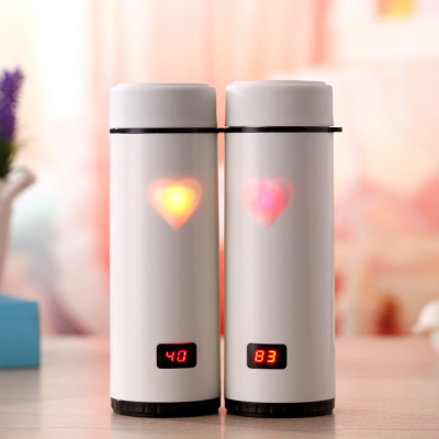 Stainless Steel LED Temperature Display Love Thermos Mug Insulated Vacuum Flask Travel Thermal Bottle Straight Cup Couple Gift(China (Mainland))