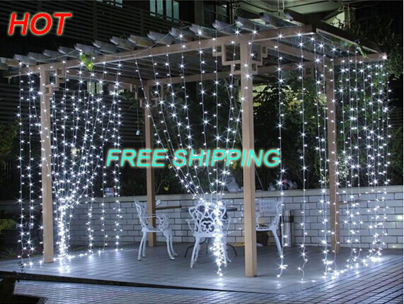 Free Shipping Outdoor Waterproof 3*3m 300led LED Curtain Icicle String Light led light lighting Wedding Christmas Holiday Window(China (Mainland))