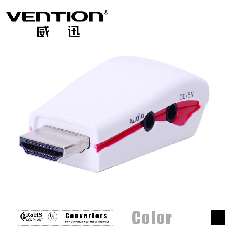 Vention! HDMI male to VGA High Quality white female adapter video converter with video output (DC/AV) for PC/Laptop HDTV(China (Mainland))