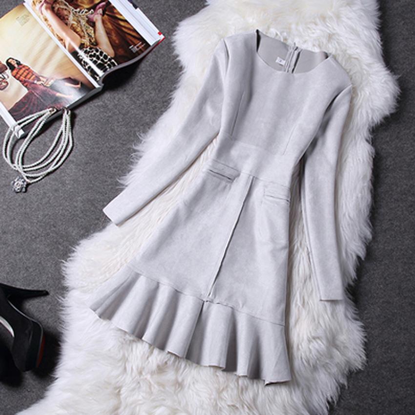 Nova moda outono inverno de alta qualidade rabo de peixe de camurça costura Zipper vestidos de manga bonito pequeno vento perfumado