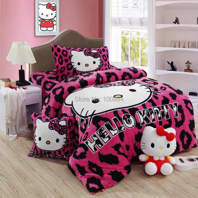 hello kitty queen size bedding 4pc bed sheet sets without filling