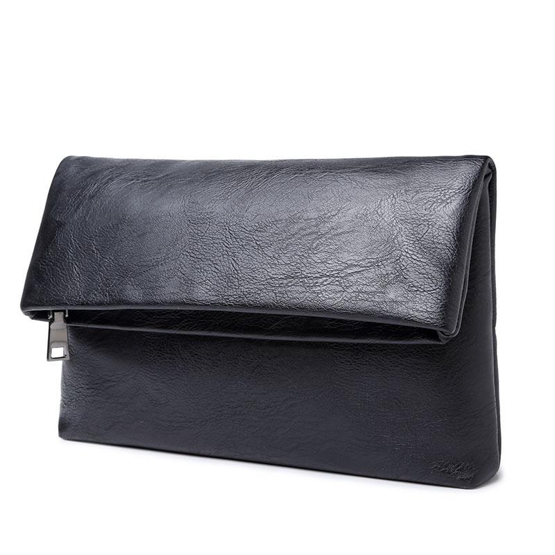 Fashion Men Business Handbags Folder Bag Fold Clutch Cow Split Leather Brand Zipper Wallet Clad Cover Type Handbag Purses Black(China (Mainland))