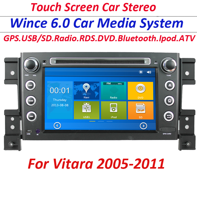 2 Din car GPS Navigation DVD radio Player for suzuki grand vitara 2005-2011 with usb ipod tv RDS radio sd touch screen free map(China (Mainland))