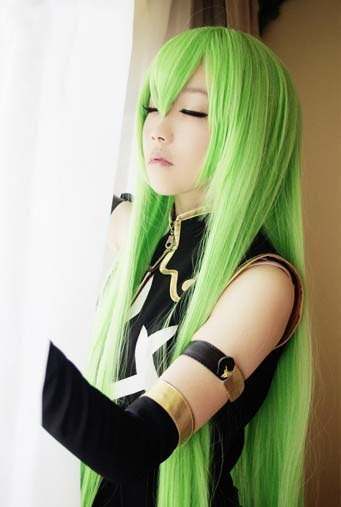Code Geass C.C. 943 100cm Long green cape cosplay anime wig for CC queen free shipping(China (Mainland))