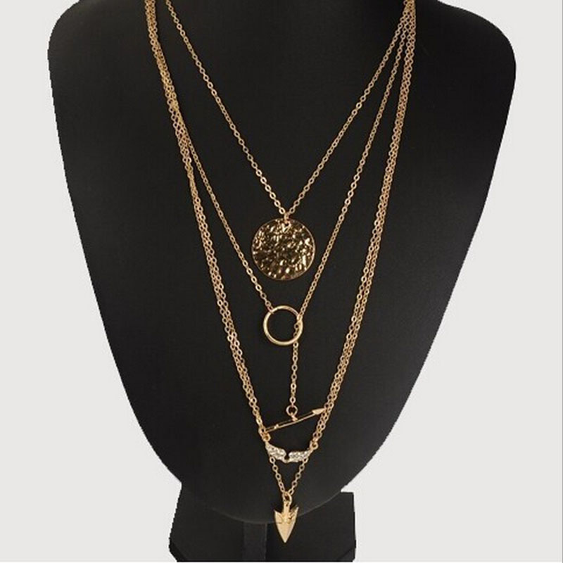 1 PCS Women Sexy Circular Arrow Angel Wing Pendant Necklace New Cheap Multi Layer Necklace Gold Color Women Jewelry(China (Mainland))