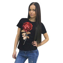 T-Shirt Women 3d Rose Flower Sequin Tops 2016 Brand FemaleT Shirt Ladies T-shirt for Women Camisetas Mujer Clothes B6108C(China (Mainland))