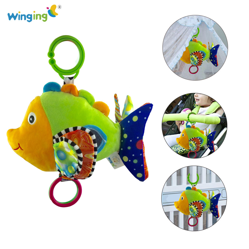 Fish Animals Baby Rattles Sounding Soft Toy Plush Musical Crib Bed Hanging Bell Animals Stuffed Baby Lovely Children Cute Toys(China (Mainland))