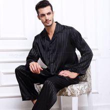 Mens Silk Satin Pajamas Set  Pajama Pyjamas  Set  Sleepwear Set  Loungewear S,M,L,XL,2XL,3XL,4XL  Plus  Striped Black(China (Mainland))