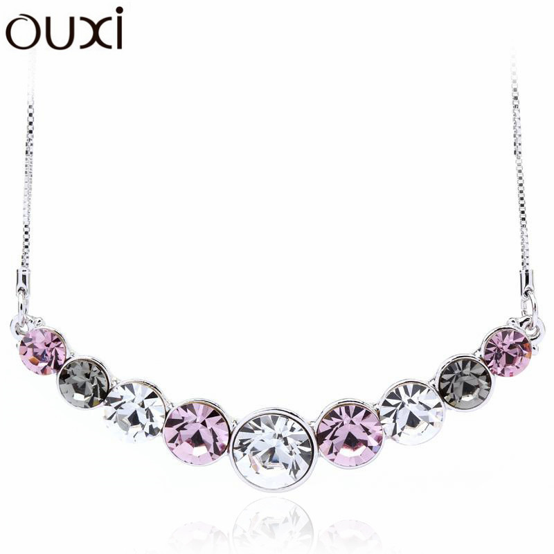 Big Coupon Women Necklace Pendant Crystal Jewelry Friendship Collar Jewlery Collier White Gold Plated Necklaces OUXI