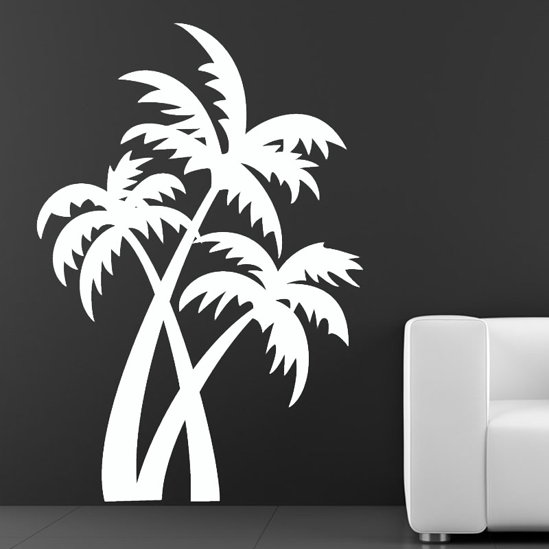 Hot Sale Plant Wall Decals Living Room Removable Brown Vinyl Palm Trees Wall Sticker For Nursery(China (Mainland))