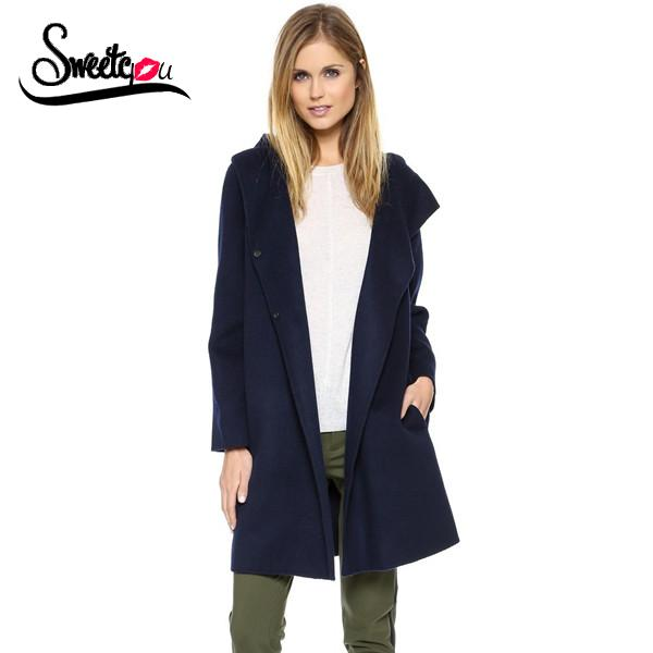 Sweetyou 2015 British Style Medium-Long Loose Casual Trench Coat Full Sleeve Hooded Navy Blue Autumn Winter Outwear Women CoatОдежда и ак�е��уары<br><br><br>Aliexpress