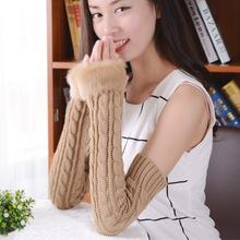 winter warm imitation  Rabbit hair  Woolen woman Protection Arm Long sleeve armband Gloves 55cm ladies girls accessories(China (Mainland))