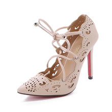 Women Pumps 2015 Sexy Red Bottom High Heels Women Shoes Lace Up Shoes Woman cut outs wedding shoes white gladiator sandals women(China (Mainland))
