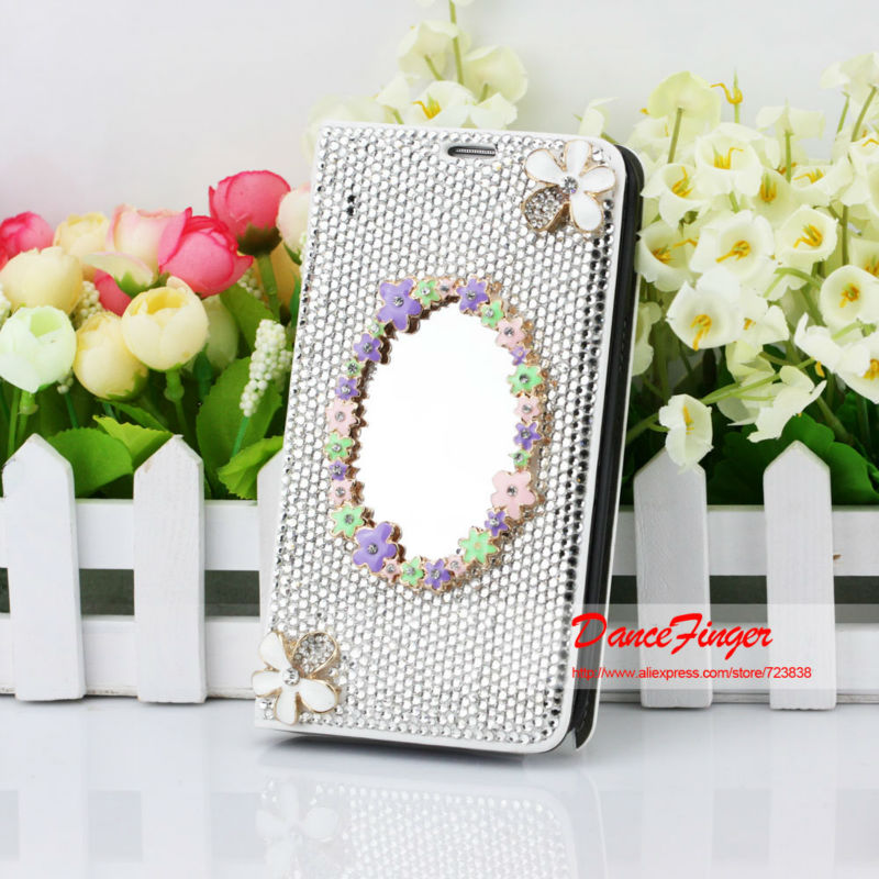Items Bling Fashion Rhinestone Mirror Metal Flower Wallet Flip Case Samsung Galaxy Note 3 N9000 - DanceFinger ( All The Best store)