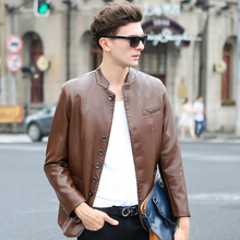 2015 New arrival Autumn Winter leather clothing men's sheep skin leather jackets coats Fashion slim Mens warm Motorcycle jackets
