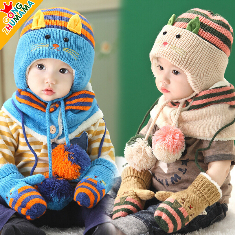 Fashion Brand Winter Cute Cate Shaped Children Baby Knitted Hat + Scarf Set with Full Fur Kids Boys Girls Cap + Ring Scarf Suit(China (Mainland))