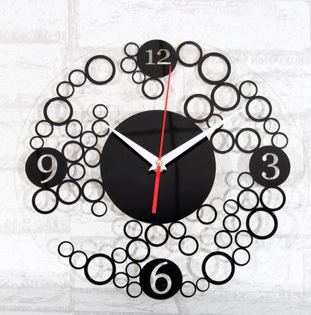040609 wall clock safe modern design digital vintage large led kitchen decorative mirror Mute fashion simple circles effect(China (Mainland))