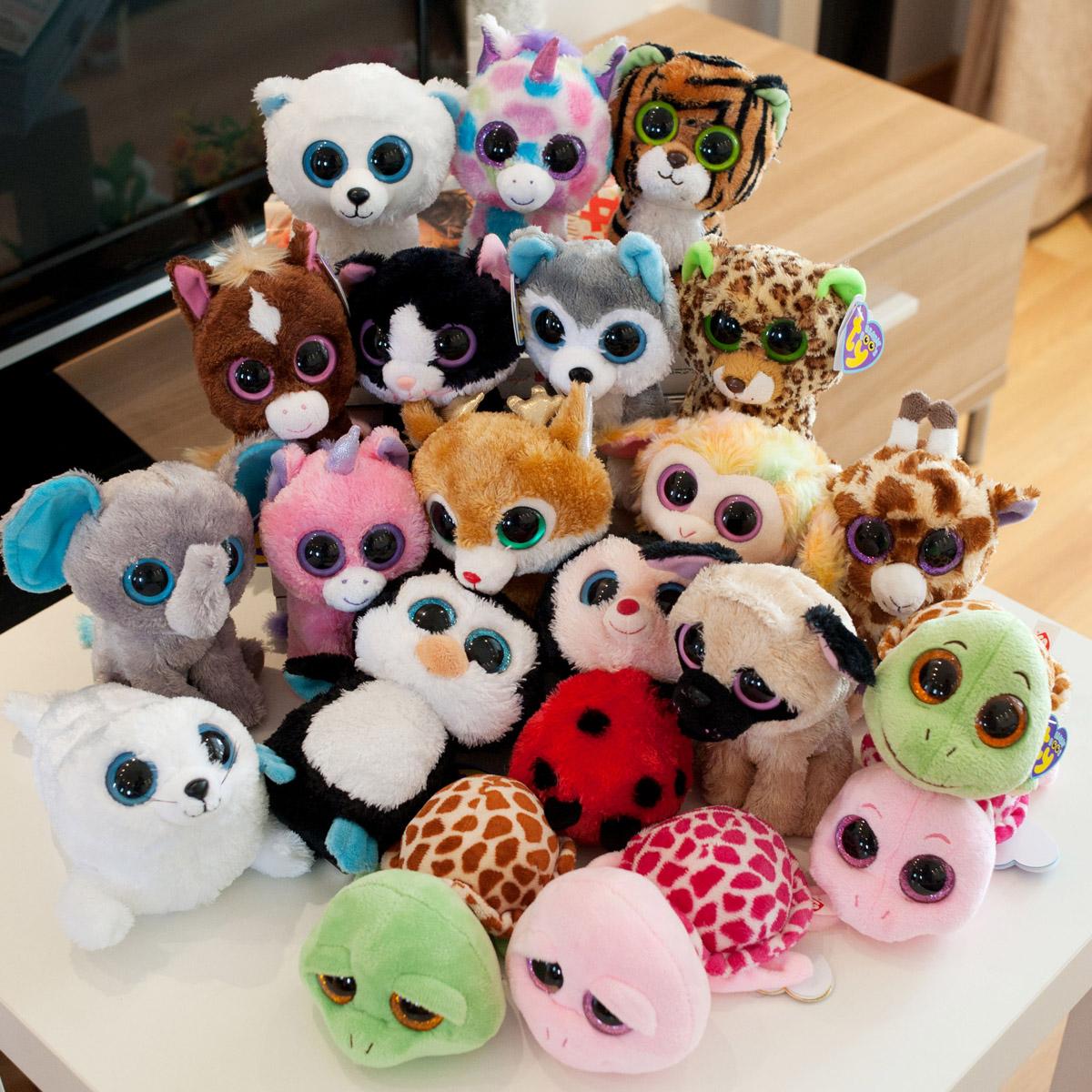 Ty big eyes series plush 15cm 5pcs/lot animal penguin polar bear plush toy doll toys for baby Beanie Boos(China (Mainland))