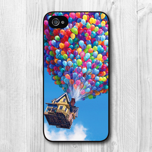 Lovely Flying House UP Protective Hard Cover Case For iPhone 4 4s, Black And White Case Side Is Available, Wholesales Retail(China (Mainland))