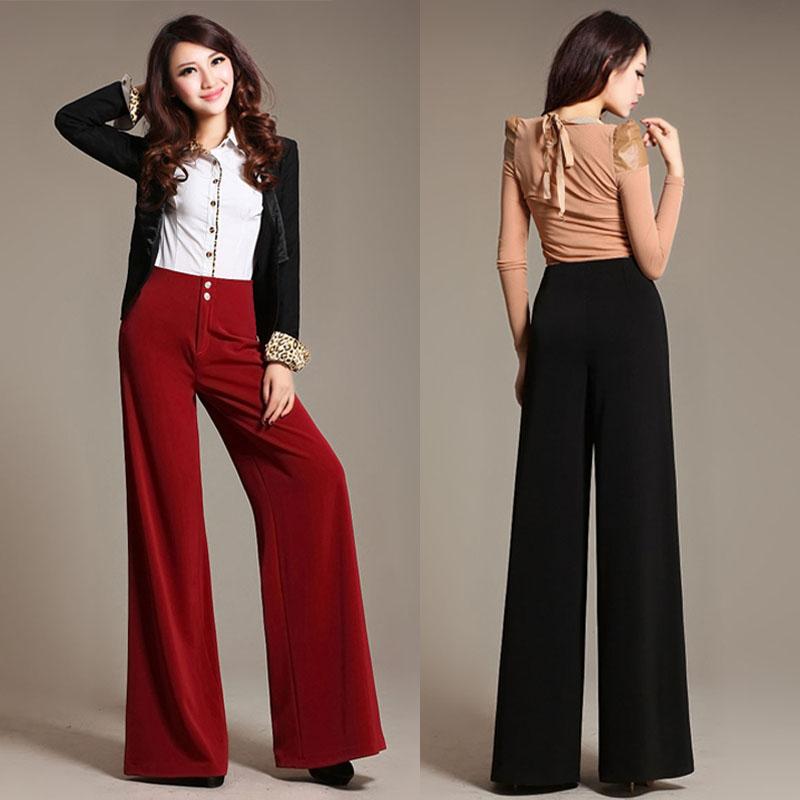 free shipping autumn spring ol fashion high waist wide leg