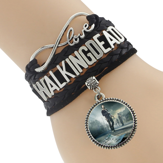 The Walking Dead Bracelet – Multi-Color Leather Braided Velvet Bracelet With Pendant Charm