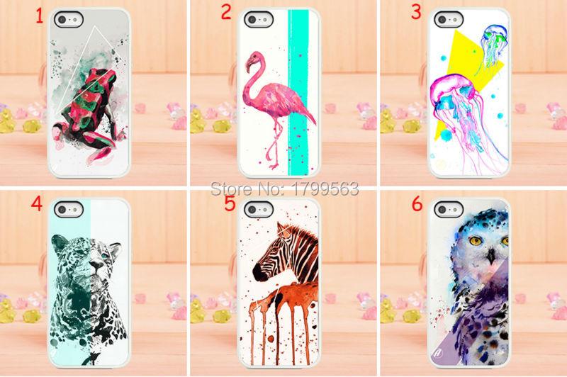 Горячие продажи 10 шт/много мультфильм сова животных акварелью жесткий Белый чехол обложка для iPhone 5 5s в 4 4G с 4С 5С оптом