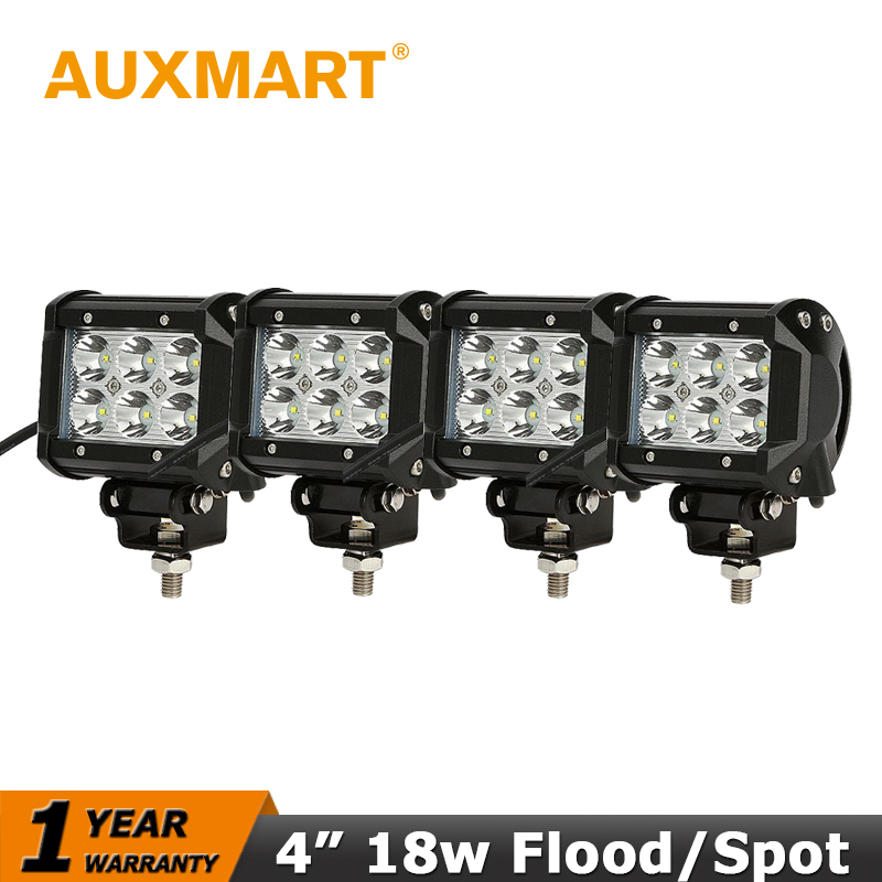 Auxmart CREE Chips 18W LED Work Light Bar Spot Beam 4x4 Led Offroad Light Bar 12V/24V Truck SUV ATV Motorcycle Headlight Driving(China (Mainland))