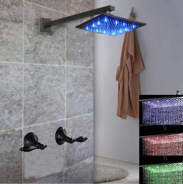 "Фотография Oil Rubbed Bronze 8"" LED Rain Shower Head Double Handles Valve Mixer Tap Sprayer"